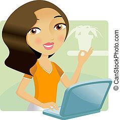 vrouw, haar, draagbare computer, werkende