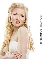 vrouw, haar, en, gezicht, beauty, mannequin, lang, blonde , krullend, hairstyle, meisje, het kijken overheen de schouder, vrijstaand, op wit, achtergrond