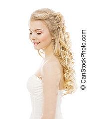 vrouw, haar, en, gezicht, beauty, mannequin, lang, blonde , krullend, hairstyle, meisje, vrijstaand, op, witte achtergrond