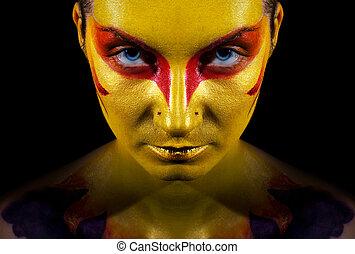 vrouw, haar, face., vrijstaand, black , artistiek, achtergrond, make-up, mysterieus, verticaal