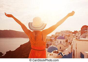 vrouw, haar, feestdagen, santorini, griekenland, het ...