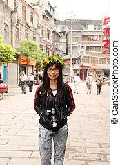 vrouw, haar, fototoestel, china, aziaat, het reizen