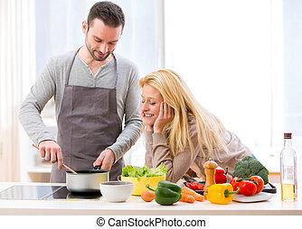 vrouw, haar, geven, voedingsmiddelen, jonge, proeven,...