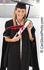 vrouw, haar, het glimlachen, afgestudeerd