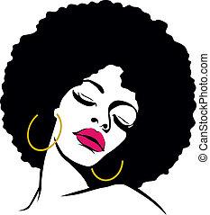 vrouw, haar, hippie, kunst, afro, knallen