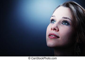 vrouw, haar, hoopvol, jonge, toekomst, afschampend