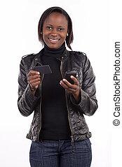 vrouw, haar, jonge, krediet, transactie, telefoon., kaart