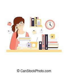 vrouw, haar, kantoor, karakter, werken, arbeider, alledaags, hebben, veel, routine, toestand, cel, spotprent