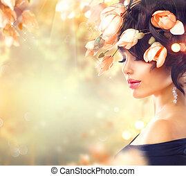 vrouw, haar, lente, magnolia, haar, bloemen
