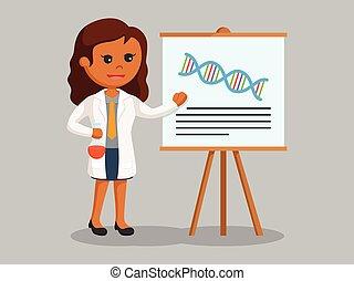 vrouw, haar, onderzoek, wetenschapper, afrikaan, presentatie