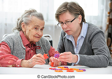 vrouw, haar, ouder, senior, verpleegkundige, care