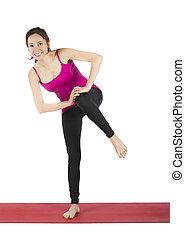 vrouw, haar,  Stretching,  fitness, gedurende, benen