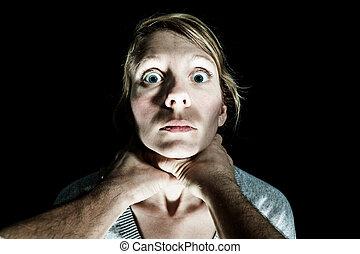 vrouw, haar, wezen, slachtoffer, wurgen, boyfriend