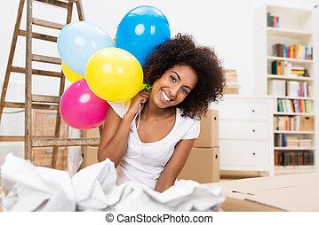 vrouw, haar, woning, verhuizen, vieren, nieuw