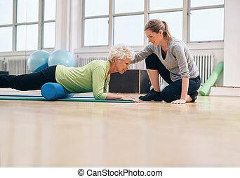 vrouw, haar, workout, bejaarden, portie, therapist, lichamelijk