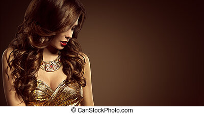 vrouw, hairstyle, mooi, mannequin, lang bruin haar, stijl, meisje, in, elegant, jurkje