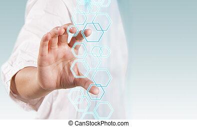 vrouw, hand, doorwerken, feitelijk, technologie, interface