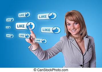 vrouw, hand, dringend, sociaal, netwerk, pictogram