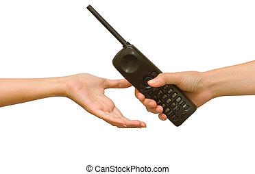 vrouw, hand, geven, een, draadloze telefoon