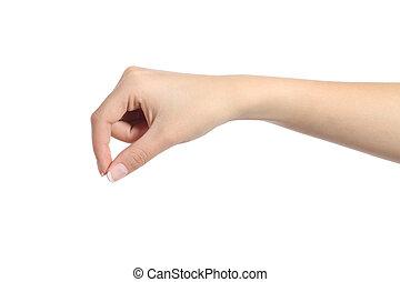 vrouw, hand, hangend, iets, leeg