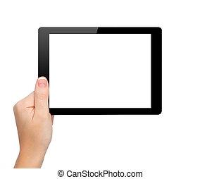 vrouw, hand, houden, een, mini, tablet, met, vrijstaand,...