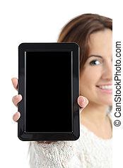 vrouw, hand houdend, en, het tonen, een, leeg, tablet pc, scherm