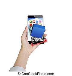 vrouw, hand houdend, smartphone, met, boodschappenwagentje, van, app, knoop
