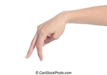 vrouw, hand, wandelende, met vingers