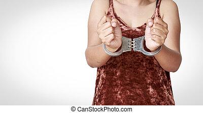vrouw, handcuffs