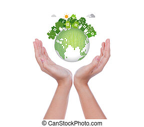 vrouw, handen, houden, eco, vriendelijk, aarde, op wit, achtergrond