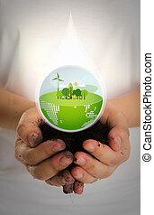 vrouw, handen, houden, waterdaling, van, eco, vriendelijk, aarde