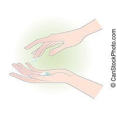 vrouw, handen, met, moisturizing, room
