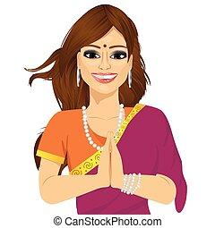 vrouw, handen, traditionele , indiër, vasthouden, gebed ...