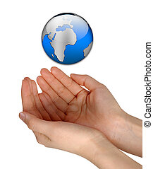 vrouw, handen, vasthouden, blauwe , aarde, vrijstaand, op, witte achtergrond