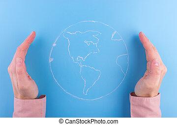 vrouw, handen, vasthouden, earth.