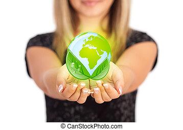 vrouw, handen, vasthouden, eco, meldingsbord