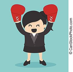 vrouw, handschoenen, boxing, kostuum
