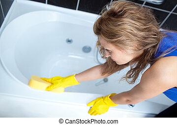 vrouw, hard, poetsen, werkende , bad