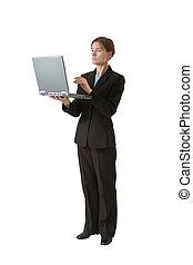 vrouw, hard, zakelijk, reeks, werken, -