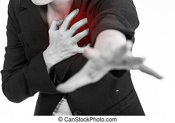 vrouw, hart, handen, zakelijk, woman., gebruik, aanval