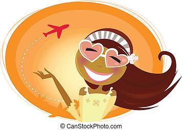 vrouw, hartvormig, reizen, achtergrond, vliegtuig, bril
