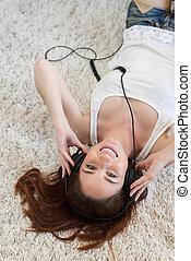 vrouw, headphones