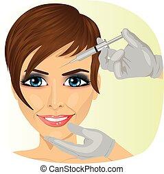 vrouw, hebben, botox, behandeling, op, de kliniek van de...