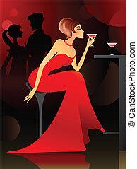 vrouw, hebben, cocktail, op, de, bar