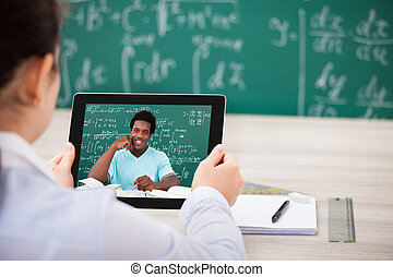 vrouw, hebben, videochat, op, digitaal tablet