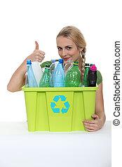 vrouw, het bevorderen, recycling