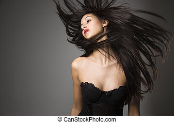 vrouw, het gooien, lang, hair.