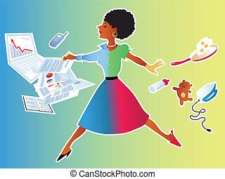 vrouw, het in evenwicht brengen, werk en familie