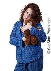 vrouw, het koesteren, beer, teddy