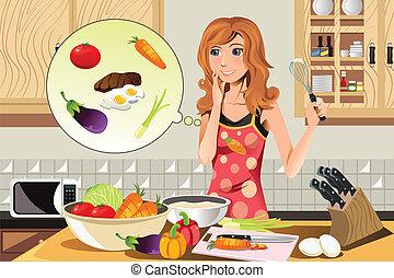 vrouw, het koken